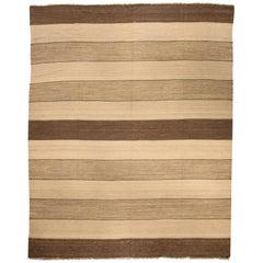 Doris Leslie Blau Collection Modern Striped Natural Flat-Weave Rug