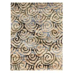 Doris Leslie Blau Collection Beige, Gray and Sky Blue Hand Knotted Hemp Rug