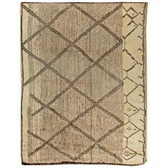 Doris Leslie Blau Collection Beni Ourain Custom Moroccan Beige & Brown Wool Rug