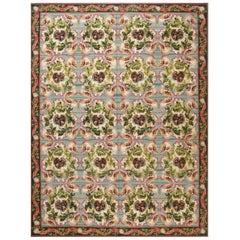 Doris Leslie Blau Collection Bessarabian Design Wool Rug in Green, Fuchsia & Red