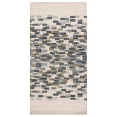 Doris Leslie Blau Collection Blue, White and Green Handmade Wool Runner