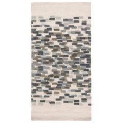 Doris Leslie Blau Collection Blue, White and Green Handmade Wool Runner