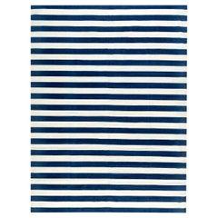 Doris Leslie Blau Collection Blue, White Striped Dhurrie Style Cotton Rug