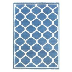 Doris Leslie Blau Collection Bold Indian Dhurrie Blue, White Handmade Cotton Rug