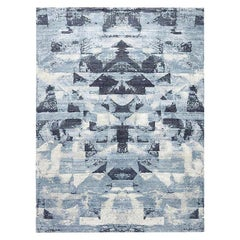 Doris Leslie Blau Collection Braque Abstract Geometric Blue and Gray Wool Rug