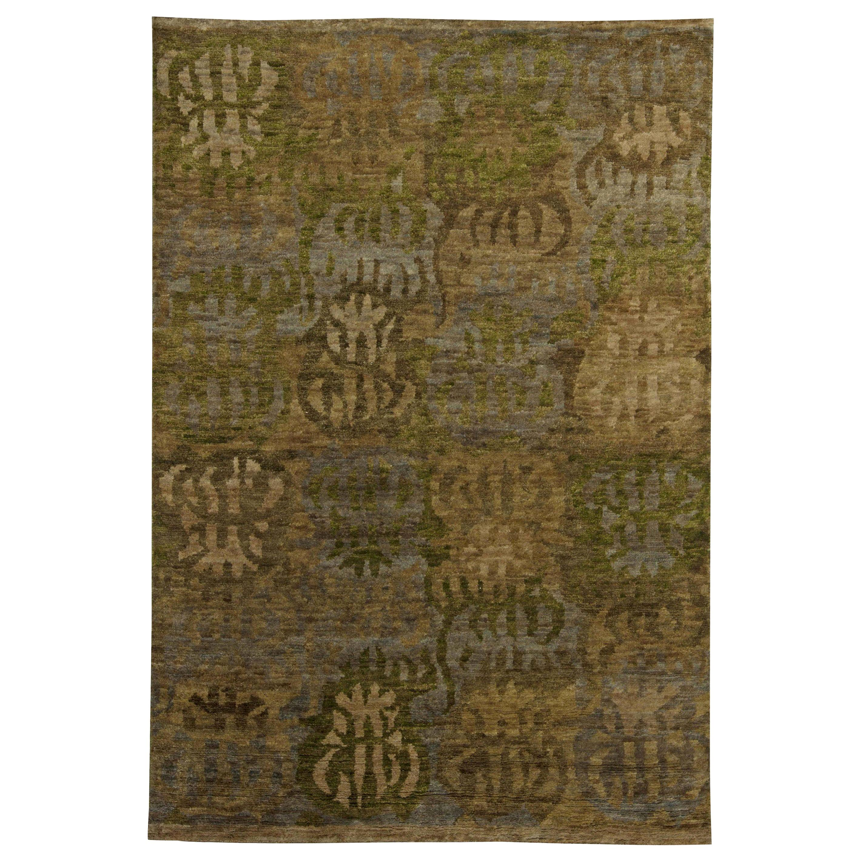 Doris Leslie Blau Collection Brown, Beige, Gray and Green Swedish Inspired Rug