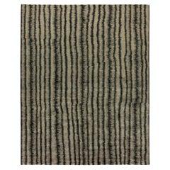 Doris Leslie Blau Collection 'Car Wash' Wool Rug in Dark Gray and Beige Stripes