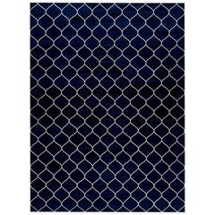 Doris Leslie Blau Collection Contemporary Capri Blue Indian Dhurrie Cotton Rug