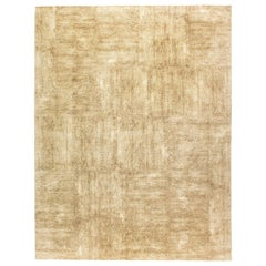 Doris Leslie Blau Collection Contemporary Gold & Beige Handmade Wool & Silk Rug