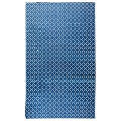 Doris Leslie Blau Collection Contemporary Indian Dhurrie Blue, White Cotton Rug