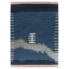 Doris Leslie Blau Collection Contemporary Kilim Rug in Blue, Gray, Ivory & Red