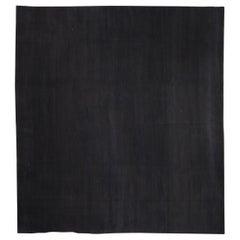 Doris Leslie Blau Collection Contemporary Solid Black Handmade Wool Rug