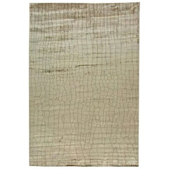 Doris Leslie Blau Collection Crocodile Design Handmade Silk Rug in Gray Shades