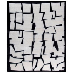 Doris Leslie Blau Collection Cubist Inspired Silk & Wool Rug in White and Black