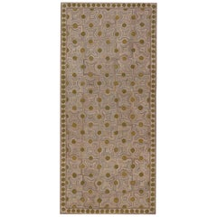 Doris Leslie Blau Collection Custom Hook Rug in Beige, Green, and Purple