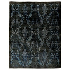 Doris Leslie Blau Collection Damask Navy and Blue Handmade Wool Rug