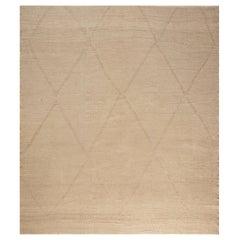 Doris Leslie Blau Collection Deux Diamond Beige and Brown Handmade Wool Rug