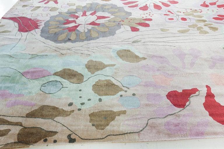 Hand-Knotted Doris Leslie Blau Collection Dhalia Silk Rug For Sale