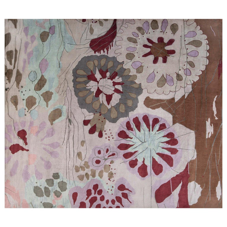 Doris Leslie Blau Collection Dhalia Silk Rug For Sale