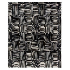 Doris Leslie Blau Collection Ecriture Black and White Handmade Silk and Wool Rug