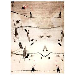 Doris Leslie Blau Collection Eskayel Splatter Modern Gray, Black, White Wool Rug