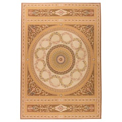 Doris Leslie Blau Collection European Inspired Aubusson Beige and Brown Wool Rug