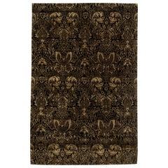 Doris Leslie Blau Collection European Inspired Tibetan Black and Gold-Brown Rug