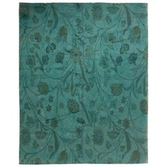 Doris Leslie Blau Collection European Inspired Tibetan Green Floral Rug