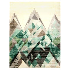 Doris Leslie Blau Collection Everest II Design Green and Gray, Silk and Wool Rug