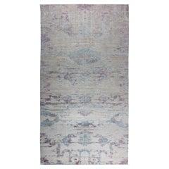 Doris Leslie Blau Collection Faint Blues Handmade Silk, Wool and Cotton Rug