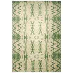 Doris Leslie Blau Collection Festival Rug by Eskayel in Green and Ivory