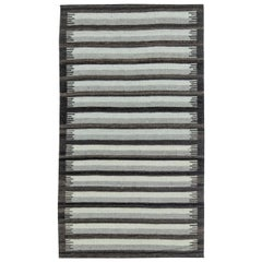Doris Leslie Blau Collection Flat-Weave Cotton Rug in Gray & Anthracite Stripes