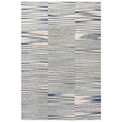 Doris Leslie Blau Collection Flat-Woven Wool Rug in Blue and White Stripes