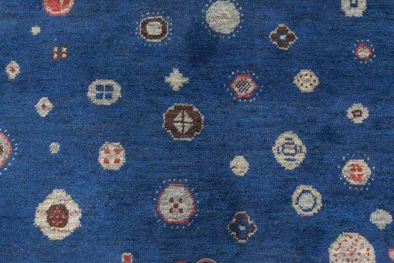 Doris Leslie Blau collection Flen Swedish inspired wool pile rug in navy blue and gray Size: 10'3