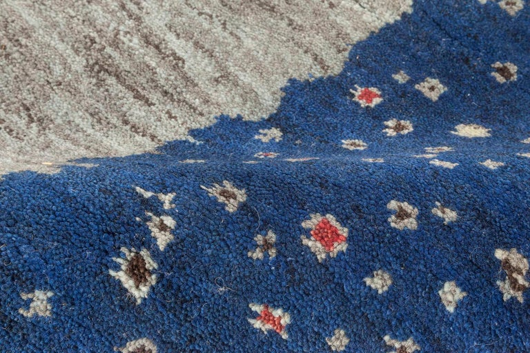Scandinavian Modern Doris Leslie Blau Collection Flen Swedish Inspired Pile Rug in Navy Blue & Gray For Sale