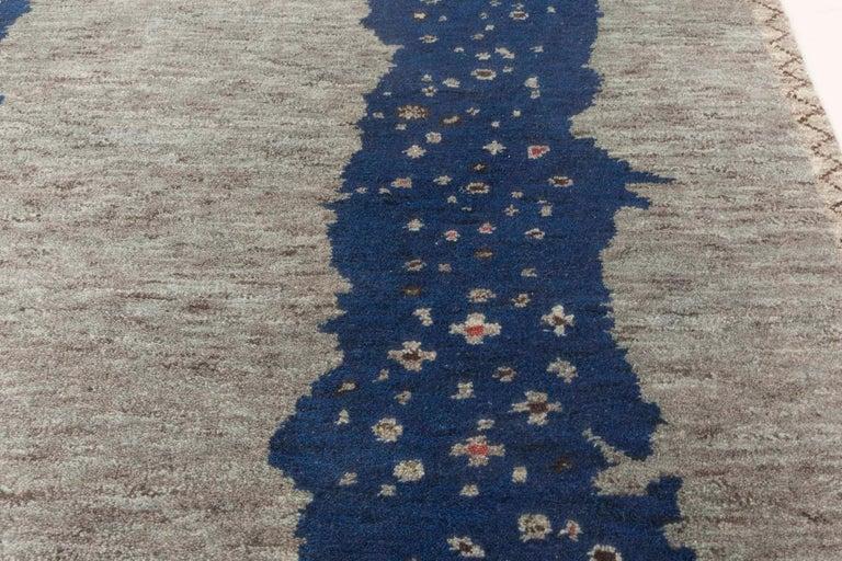 Indian Doris Leslie Blau Collection Flen Swedish Inspired Pile Rug in Navy Blue & Gray For Sale