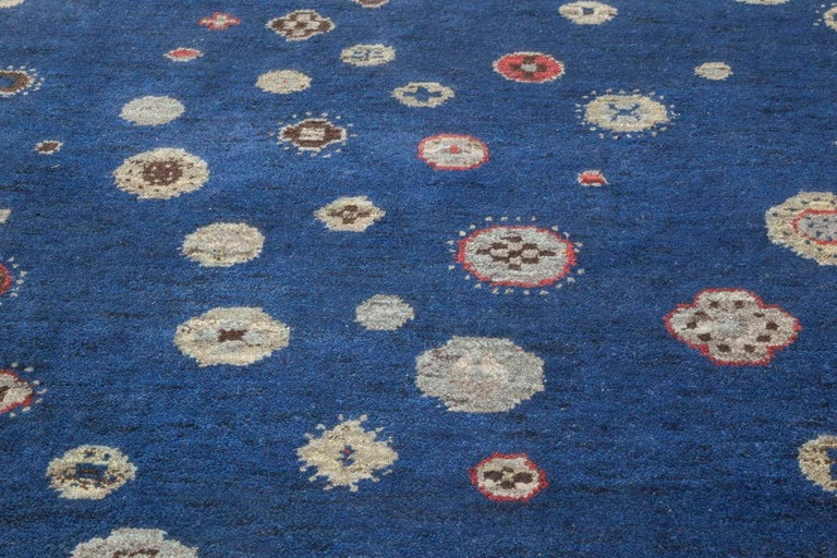 Hand-Knotted Doris Leslie Blau Collection Flen Swedish Inspired Pile Rug in Navy Blue & Gray For Sale