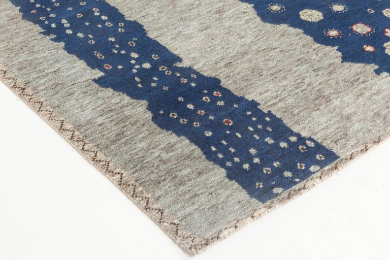 Contemporary Doris Leslie Blau Collection Flen Swedish Inspired Pile Rug in Navy Blue & Gray For Sale