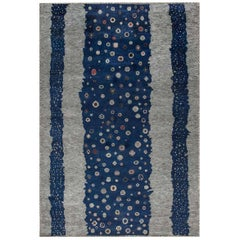 Doris Leslie Blau Collection Flen Swedish Inspired Pile Rug in Navy Blue & Gray