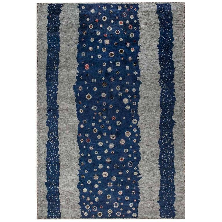 Doris Leslie Blau Collection Flen Swedish Inspired Pile Rug in Navy Blue & Gray For Sale