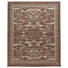 Doris Leslie Blau Collection Floral Brown & White Hand Knotted Wool Chinese Rug