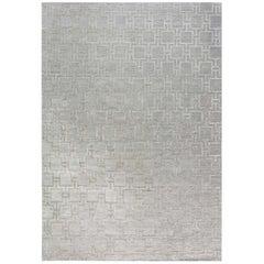 Doris Leslie Blau Collection Geo Henley Silk and Wool Rug in Silver Grey