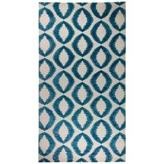 Doris Leslie Blau Collection Geometria Dark Blue and White Flat-Woven Wool Rug