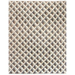 Doris Leslie Blau Collection Geometric Beige, Brown and Gray Handmade Wool Rug