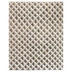 Doris Leslie Blau Collection Geometric Beige, Brown and Gray Handmade Wool Rug