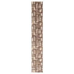 Doris Leslie Blau Collection Geometric Beige & Brown Handmade Wool & Silk Runner