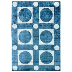 Doris Leslie Blau Collection Geometric Blue and White Handmade Silk Rug