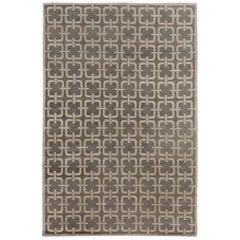 Doris Leslie Blau Collection Geometric Design Gray and Beige Rug