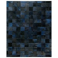 Doris Leslie Blau Collection Geometric Design Leather Rug in Blue, Black & Gray