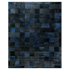 Doris Leslie Blau Collection Geometric Design Leather Rug in Blue, Black & Gray